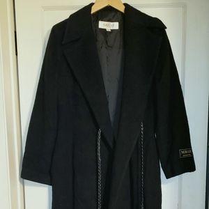 Alamode Mohair Wool ankle length black winter coat